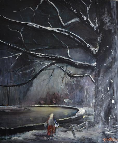"""Karel WOUTERS (1892 - 1965) """" Neige sur le Canal """" datée 1948"""