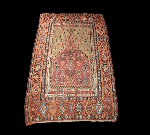 Musée, Kilim Senneh ancien, 142 cm x 220 cm, XIXème, Rarissime tapis de prière S