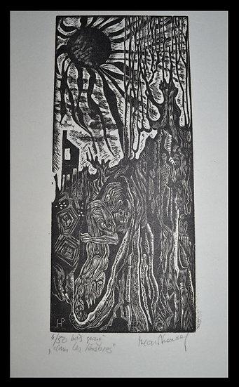 """Hilda VAN NORDEN (1922 - 2017) , Gravure , """"Dans les ténèbres"""" , circa 1972"""
