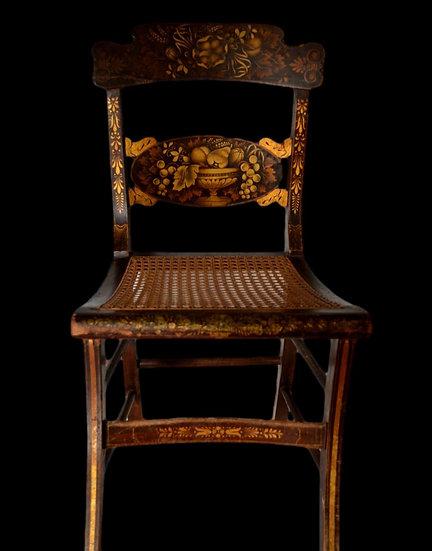 Quatre chaises cannées peintes, Milieu du XIXème siècle