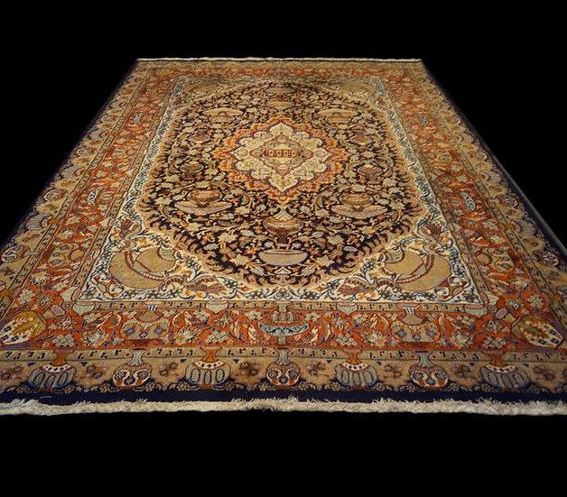 Tapis persan kashmar, Iran, Noué Main, 247 cm x 344 cm, Vers 1960