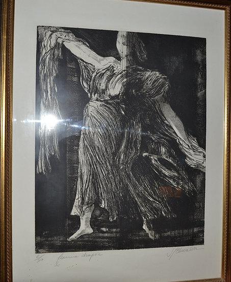 CHEVALIER Jean - Gravure - La Femme Drapée - circa 1995