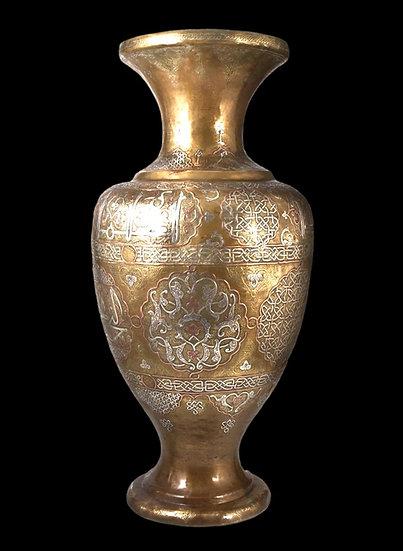 Important vase en cuivre damasquiné d'argent, XIXème siècle