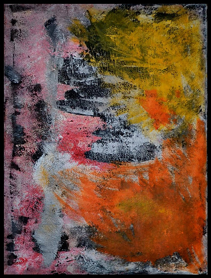 Erwin STEINBACH  » Das rosa meer und die klippen  » technique mixte, 80 x 60 cm,