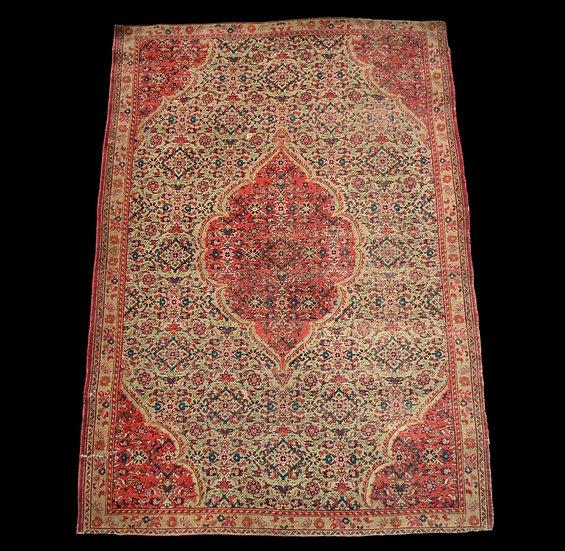 Tapis Persan Tabriz ancien, soie sur soie, 116 cm x 168 cm, XIXème siècle, état
