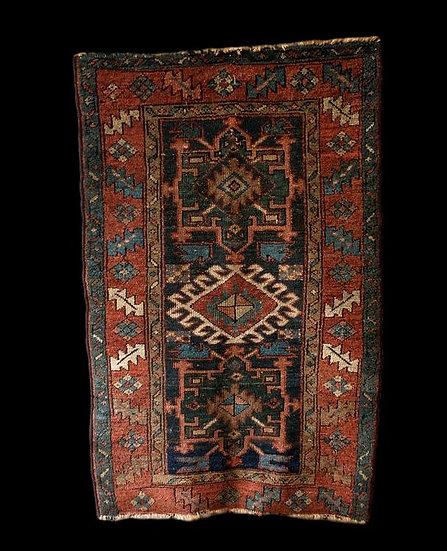 """Tapis Karadje ancien, 81 cm x 132 cm, Iran, début du XXème siècle, bon état"""""""