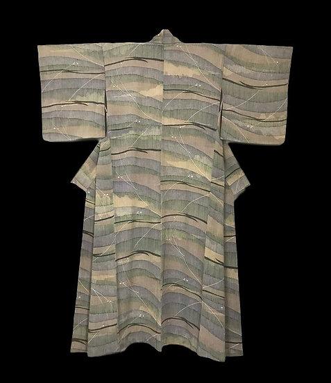 Kimono ancien Tsumugi en soie, Japon, vers 1960