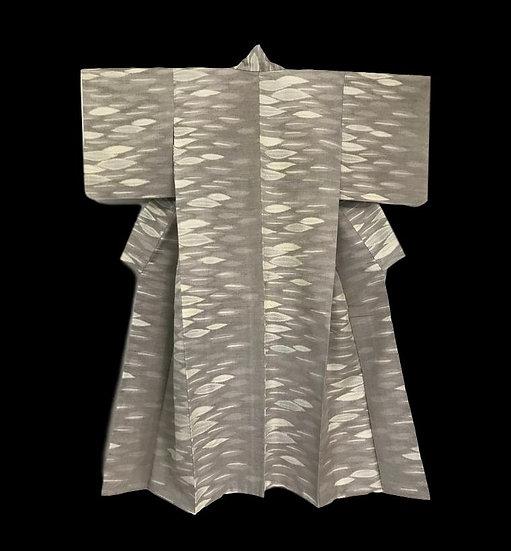Kimono Komon en Soie, Japon, décor de feuilles, 1950/ 1960