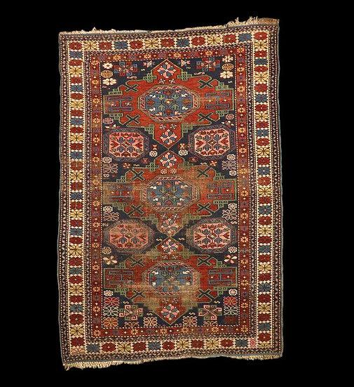 Tapis Kouba ancien, Caucase, 114 cm x 168 cm, laine sur laine, Fin du XIXème siè