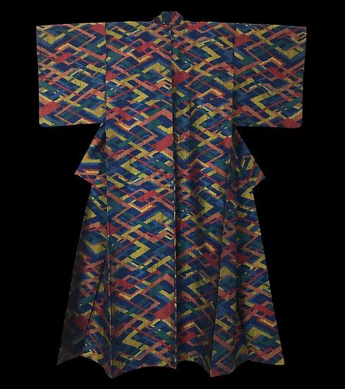 Kimono Yonezawa Tsumugi, Ancien, en Soie, Japon, début de l'ère Showa