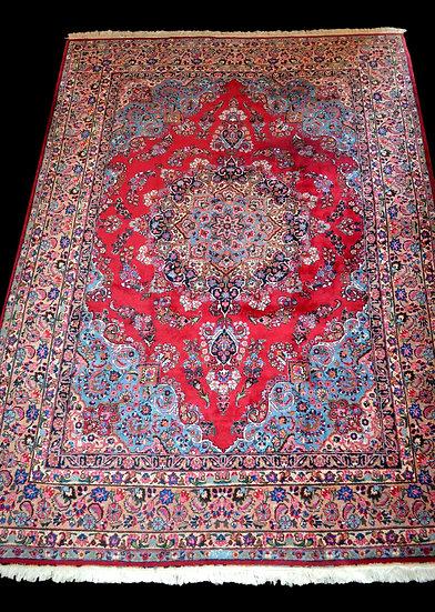 Tapis Persan Macchad signé 250 cm x 356 cm, laine kork nouée main, Iran