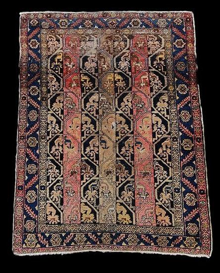 TAPIS HERIZ Ancien, 103 x 142 cm, Iran, seconde moitié du XIX ème siècle