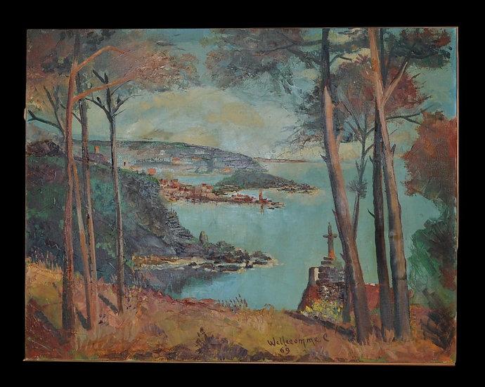 """Cellestin WELLECOMME (1923-1986) , """" Paysage du Midi """"1969"""