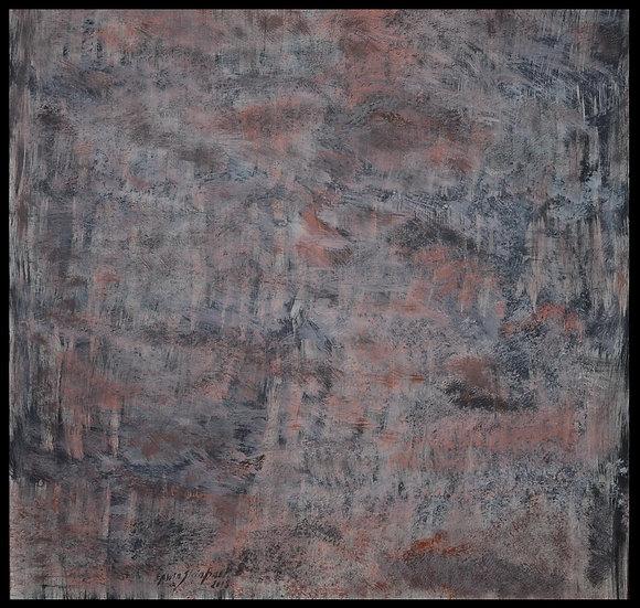 """Erwin STEINBACH """" Les bois en hiver """" 100 x 100 cm, Octobre 2016"""