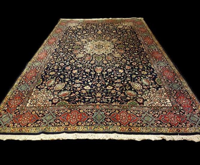 Tapis Indo-persan, décor Ardebil, 203 cm x 310 cm, Laine nouée main, Cachemire,