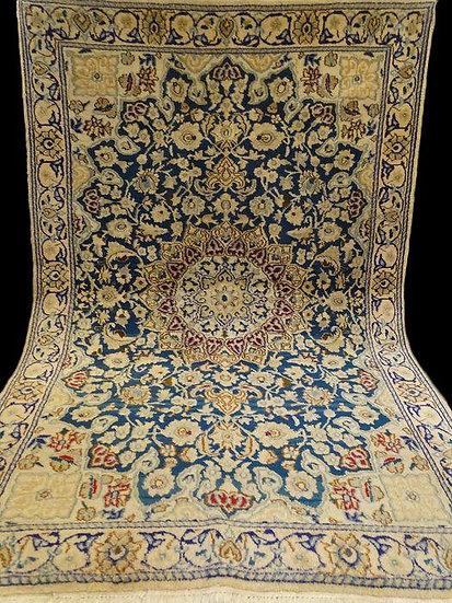Tapis persan Nain,120 cm x 190 cm, soie et laine, Iran, noué main, 1960