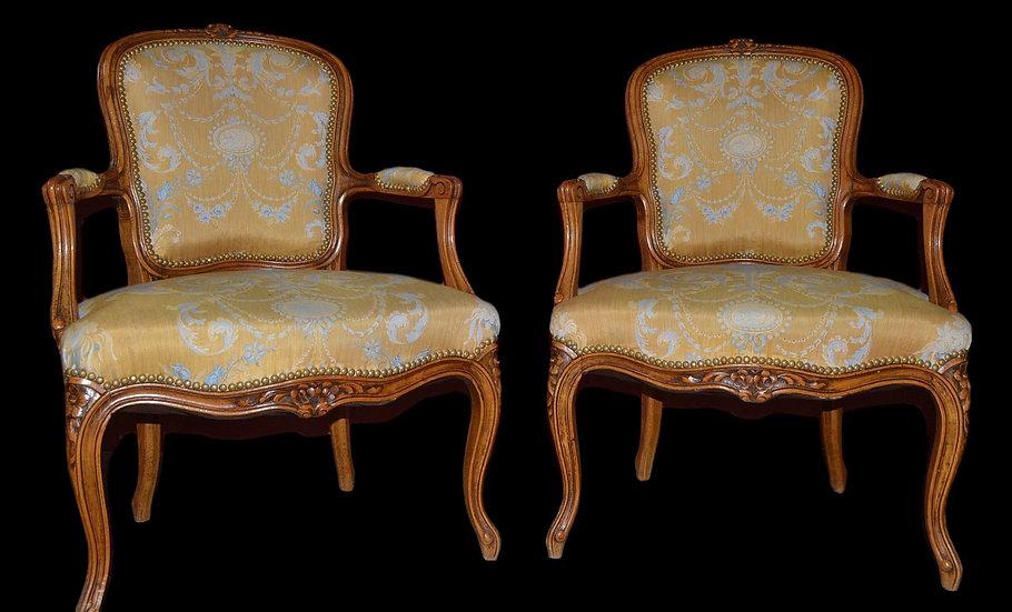 Fauteuils en paire de style Louis XV, France vers 1890, parfait état