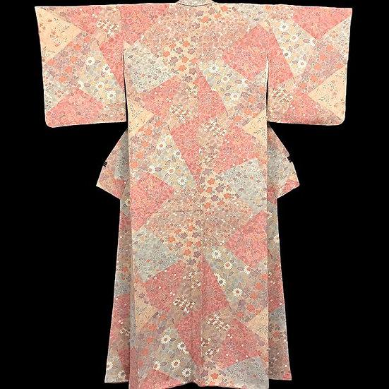 Kimono homongi, en soie naturelle, Japon, vers 1950