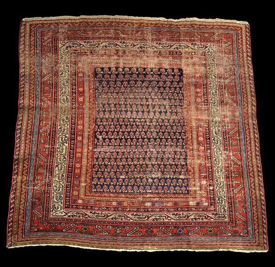 Tapis Afshar ancien, 177 cm x 178 cm, Iran, laine nouée main, fin du XIXème sièc