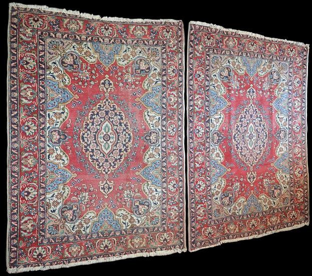 Paire de Tapis persans Tabriz, 140 cm x 192 cm, Iran, noué main,1950