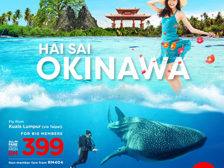 Fly to Okinawa with Airasia X (via Taiwan!