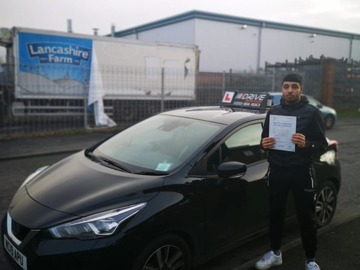 Manual driving lessons in Rochdale and he passed first time with idrive. Drive in the UK now