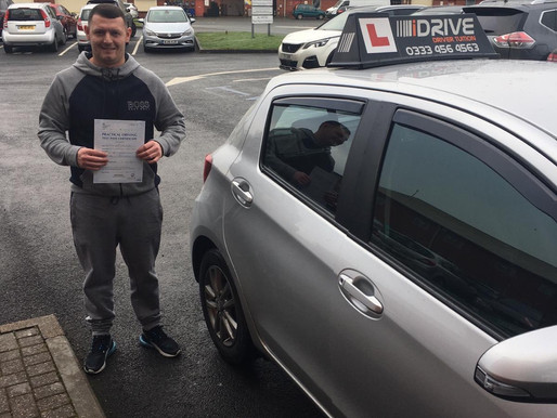 Ryan passes driving test on his first attempt after learning to drive with idrive Rochdale.