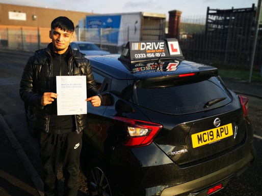 Another driving test passed first time after taking manual driving lessons in Rochdale.