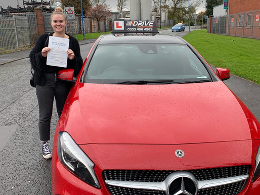 Katie passes her driving test easily on her first attempt after taking Manual Driving lessons