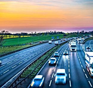 Colourful sunset at M1 motorway near Fli
