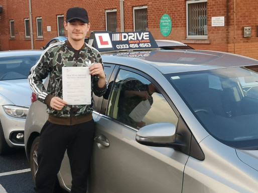 Another great result as Ryan passes his driving test on his first attempt in Rochdale