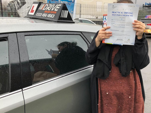 Sehar passes her driving test in Rochdale after learning to drive in manual driving lessons
