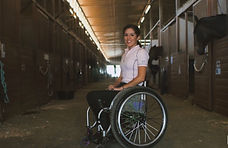 USEF paraequestrian dressage training camp. Alanna flax-clark girl in wheelchair. Paradressage horse
