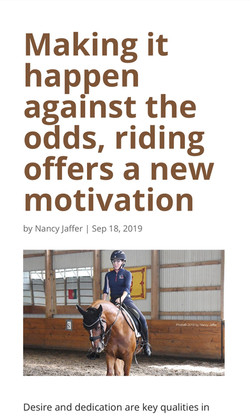 Making it happen against the odds, riding offers a new motivation