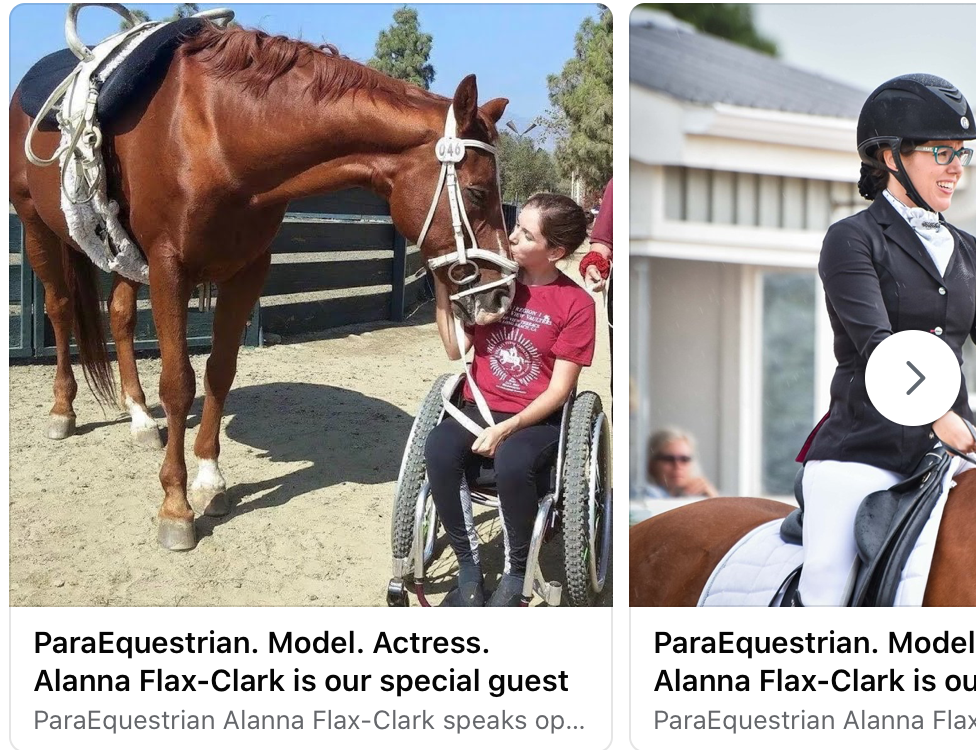 ParaEquestrian. Model. Actress. Alanna Flax-Clark is our Special Guest.