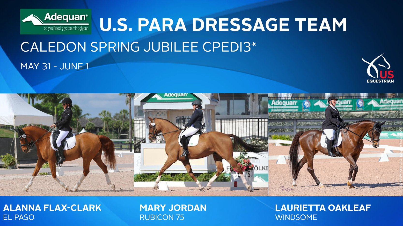 U.S. Equestrian Announces Adequan U.S. ParaDressage Team for Caledon Spring Jubilee CPEDI3*