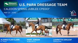 U.S. Equestrian Announces Adequan U.S. ParaDressage Team for Caledon Spring Jubilee CPEDI3*