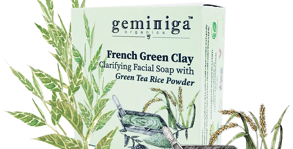 French Green Clay Clarifying Facial Soap with Green Tea Rice Powder