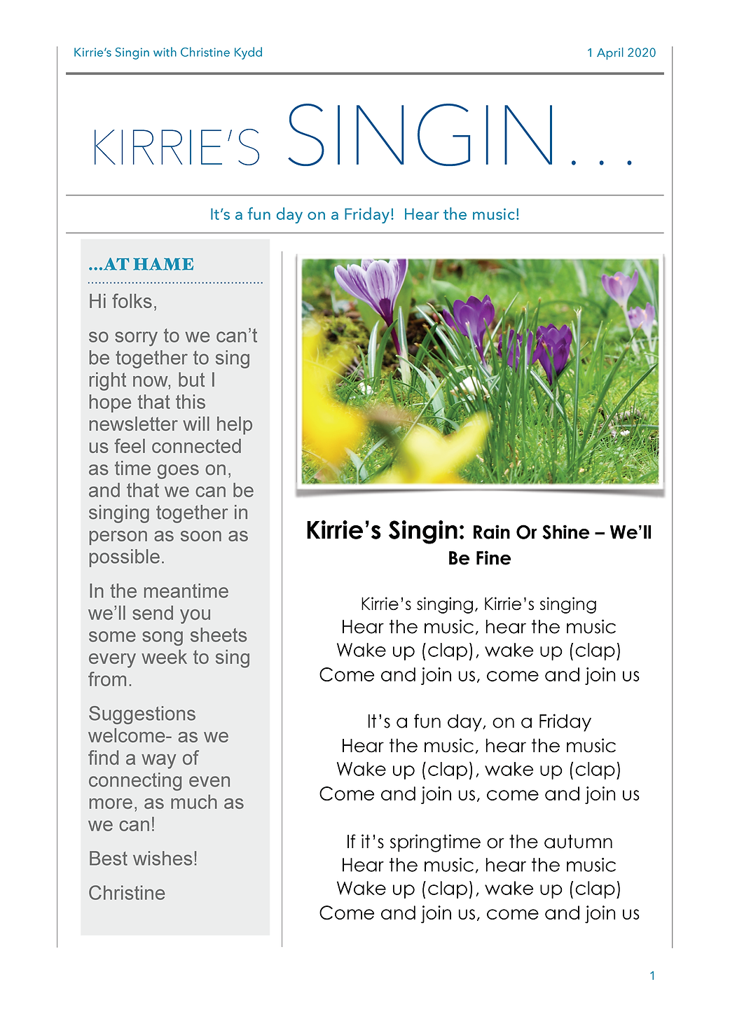 Kirrie's Singin..first week in April New