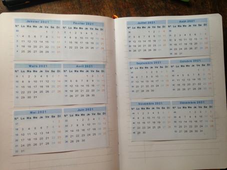 Mon BuJo de feignasse : les calendriers au début du carnet (5)