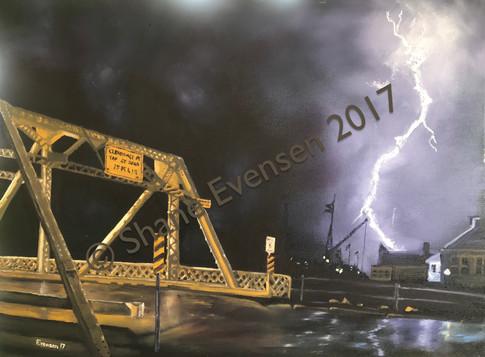 Lightning Over the Michigan Street Bridge