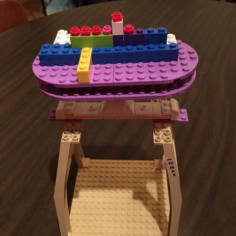 The Lego Menorah Lit for 5th Night