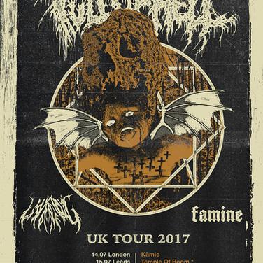 FULL OF HELL UK Tour, 2017. Artwork and design.