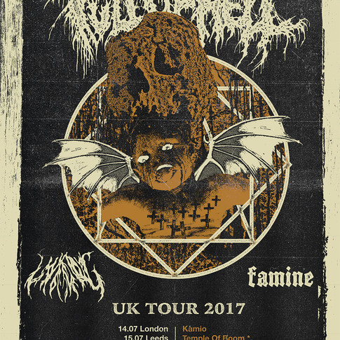 FULL OF HELL UK Tour, 2017. Artwork and design.