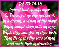 Job 33:14 Indeed God Speaks Once, Or Twice, Yet No One Notices It. In A Dream, A Vision...  We Can O