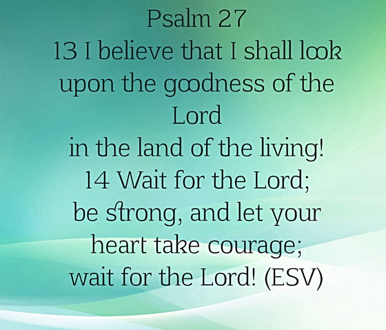 Psalm 27:14 Wait For The Lord; Be Strong, And Let Your Heart Take Courage; Wait For The Lord!