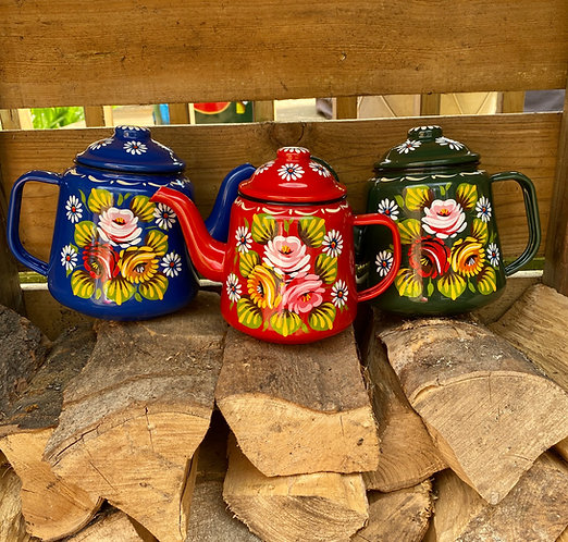 Enamel Teapots - 2 sizes