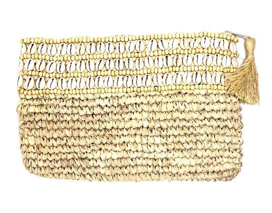 Tuvalu & Cowrie Shells Raffia Gaab Clutch