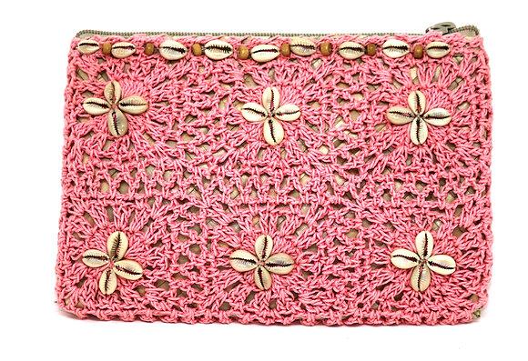 Boho Pink Macramé  & Palm Leaf Gaab Purse