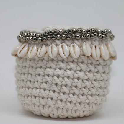 Macrame & Shell Beads Basket